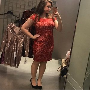 Calvin Klein Sparkly Red Formal Dress